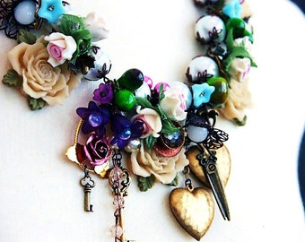 Statement Necklace 'ROSE GARDEN' Handmade Assemblage Necklace an Original Design by Katherine Cooper from my Mori Girl GEISHA Collection