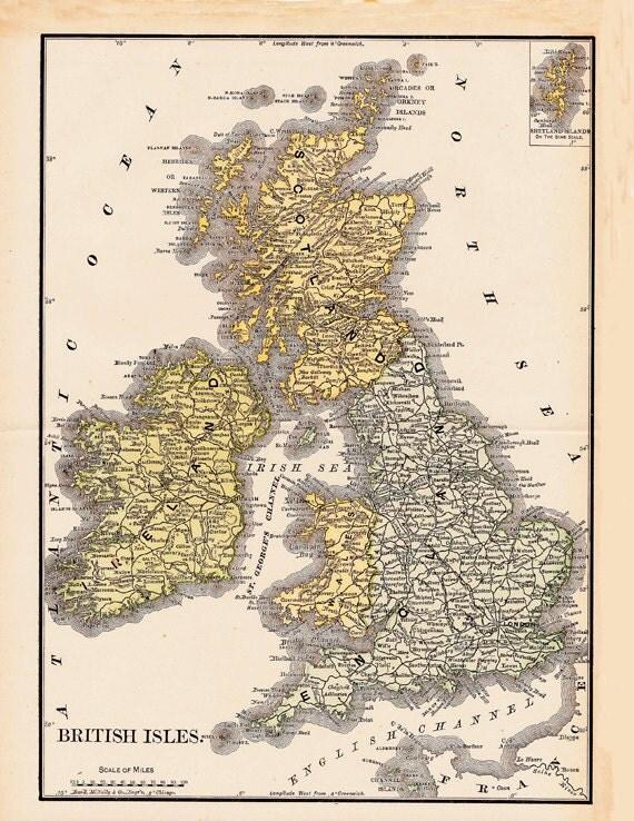 antique map of the British Isles, Scotland, Ireland  England vintage printable digital sheet no. 157