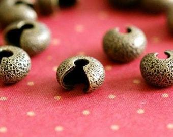 Nickel Free 50pcs Antique Bronze Stardust Crimp Bead Cover 4mm