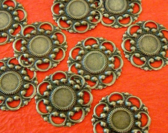 Clearance 100pcs 26mm Antique Bronze Filigree Flower Wraps A60