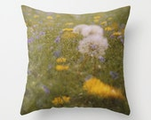 throw pillow cover. photo pillow cover. decorative accent pillow. spring flower photography dandelion yellow. spring green floral home decor