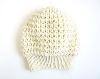 Emma Merino Slouch Hat. Hand Knit Lace. Soft Porcelain / Cream. Romantic / Valentine / Boho / Spring Style. Handmade in France