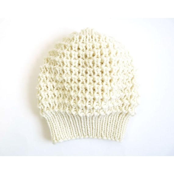Emma Merino Wool Lace Slouch Hat. Hand Knit. Soft Porcelain / Cream. Romantic / Valentine / Boho Style. Spring Fashion. Handmade in France.
