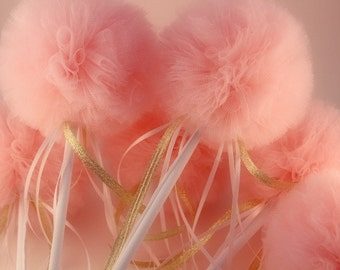 Tulle Wands, Pink and Gold Ballerina Princess Party Pack of 16 Wee Whimsy Wishing Wands, Birthday or Shower Favors