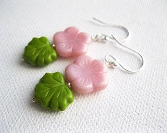 Pink Cherry Blossom & Sterling Silver Earrings - UK Seller - Contemporary Jewellery - Bridesmaid Earrings - Sakura Flower Earrings - Floral