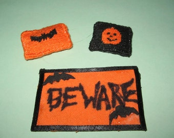 Dollhouse miniature Halloween doormat and two needlepoint pillows