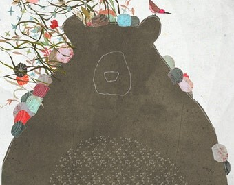 Creature U - Art -Print of an original illustration - bear - flowers