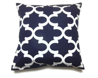 Decorative Pillow Cover Navy White Damask Design Throw Toss Accent Covers Same Fabric Front and Back 18 x 18  inch x
