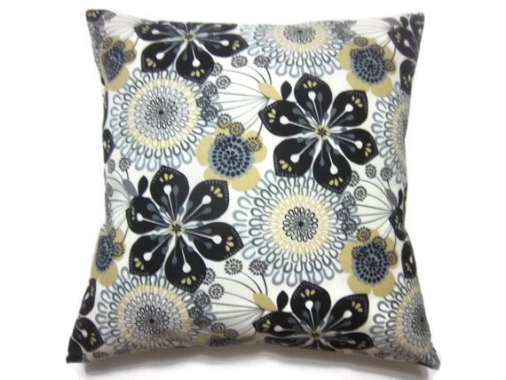 Modern Floral Pillow : Decorative Pillow Cover Modern Floral Design Black White