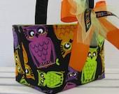 Halloween Candy Basket Bucket - Trick and Treat - Fun Owls Purple Lime Green Orange on Purple Fabric