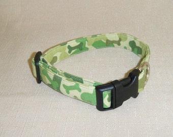Camo Bones green - Dog Collar
