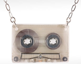Old Cassette Necklace - Cassette Necklace, 80s Necklace, Cassette Jewelry, 80s Jewelry, Mixed Tapes