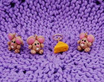 Cute Mice & Cheese knitting or crochet stitch markers - polymer clay