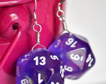 Dice Earrings - D20 Twenty Sided Dice - Purple Sparkle Glitter Dice