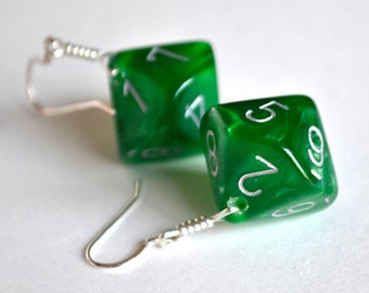 READY TO SHIP - Green Dice Earrings - D10 Ten Sided Dice - Geeky Gamer Jewelry