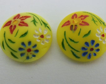 vintage cabochons (2+) yellow hand painted glass cabs floral etching West German 13mm (2+)