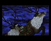 Santa's Reindeer in Mosaic, Five Postcards