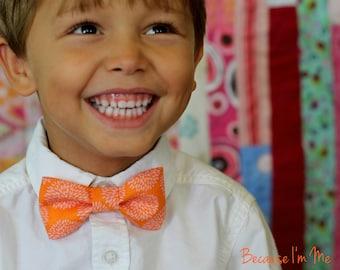 Boys Bow Tie - Wonderful Pink Mumms Bursting on an Orange Woven Cotton Background, bowtie for infant, toddler, child, summer tie, birthday