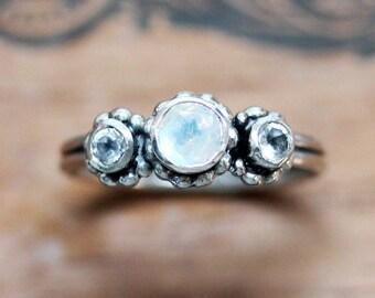 Rainbow moonstone - 3 stone ring - mother's ring - bezel gemstone ring - right hand ring - June birthstone- Crush trio, ready to ship sz 7.5