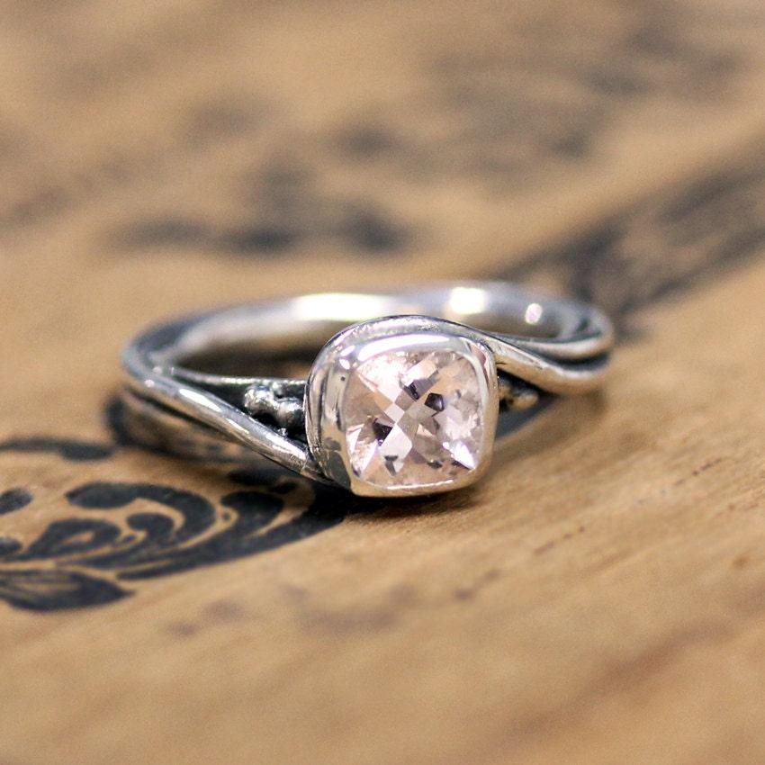 morganite engagement ring silver morganite ring by metalicious