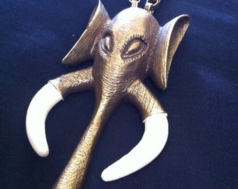 Huge seventies designer elephant necklace tribal African