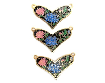 Vintage Pink and Blue Flowers on Black Cloisonne Enamel Heart Pendants (2X) (E576)