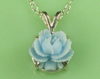 Vintage Lucite Blue Rose Necklace