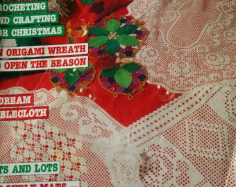 Christmas Crochet Patterns Magic Crochet Magazine October 1986 Bedspread Runner Placemats Sweater Vintage Paper Original NOT a PDF