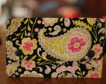Double Snap Wallet - Lime Paisley - ON SALE
