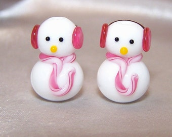 Handmade Lampwork Stylish Earmuff Snowmen Beads by Cara