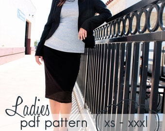 Ladies Knit Pencil Skirt - INSTANT DOWNLOAD - xs through xxxl, 8 length options mini to calf - pdf sewing pattern