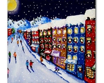 Winter Holiday in the City Colorfull Whimsical Folk Art Ceramic Tile