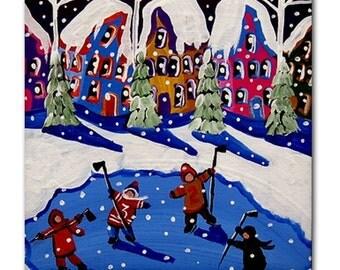 Little Hockey Players Ice Skate Winter  Fun Colorful  Whimsical Folk Art Ceramic Tile