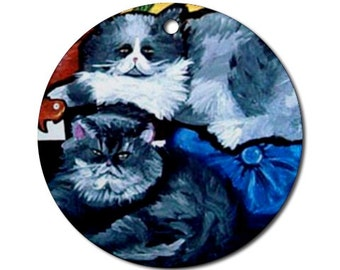 2 Fat Cats Folk Art Fun Whimsical Colorful Round Porcelain Ornament