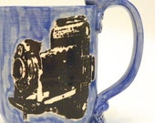 Ceramic Mug Smile for the Camera Black on Blue Made to Order MG0033