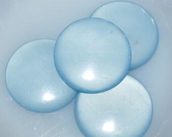 Vintage Lucite Blue Large Round Cabochons (4)