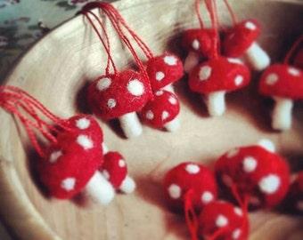 Set of 3 Needle Felted Toadstool Mushroom Christmas Tree Decorations