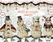 ART TEA LIFE Snowman Paper Doll Collage Sheet Journal Page Scrapbooking clip art Digital File paper doll card gift tag altered art parts