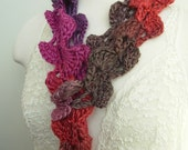 Hand Crocheted  Scarf  Plum Purple Magenta Leaf Petals Lariat