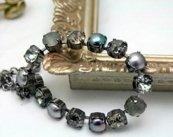Shades of Gray Swarovski Elements Tennis Bracelet Rhinestone 8mm Pearl Vintage Patina Shimmer Original