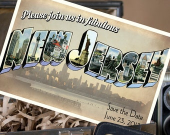Vintage Large Letter Postcard Save the Date (New Jersey - 2) - Design Fee