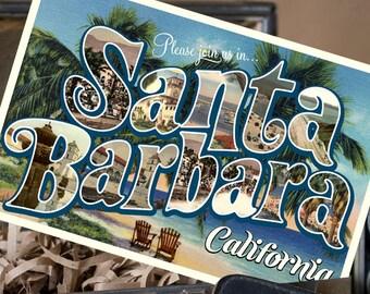 Vintage Large Letter Postcard Save the Date (Santa Barbara, California) - Design Fee