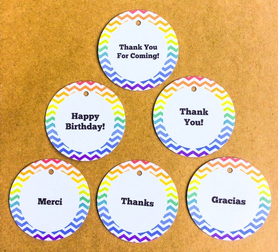 Personalized, 30 Rainbow Tags, Happy Birthday, Baby Shower, favor tags