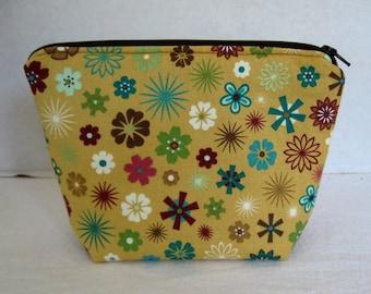 Floral Makeup Bag - Mustard Flat Bottom Pouch - Gold Turquoise Zipper Pouch - Floral Zipper Pouch