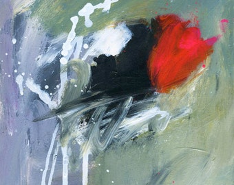 Abstract Painting on Paper with Green, Red, Black & White Textured Design - 10 x 10