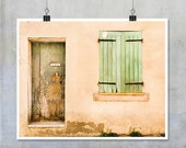 Provence France Travel Photography- green door window shutters Arles old house shabby chic print wall art home decor 10x8 11x14 20x16