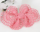 Pink Salmon Vintage Inspired Lace Hair Clip, Crochet Lace Hair Bow, Girls, Teens, Women, Hair Bow Accessory