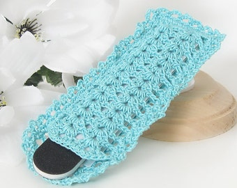 Nail File Holder Sleeve, Lace Aqua Blue Emery Board Nail File Cover, Girls, Teens, Women Crochet Manicure Accessory