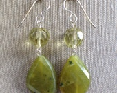Olive Teardrop Dangle Earrings