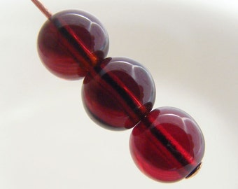 Czech Druk Beads Round Luster Transparent Garnet Red 6mm (25pk) SI-6DK-GR